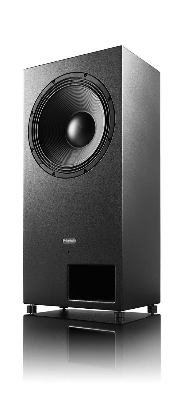 "SMS18 is a powerhouse of 18"" subwoofer, powered, DSP controlled for home theater and cinema use. Perspective view."