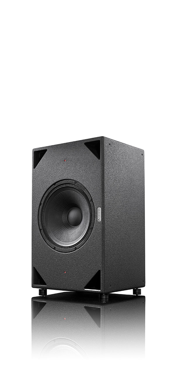 "SMW15 an ultra high performance 15"" active DSP low-mid speaker for high performance cinema or home theater applications perspective view"